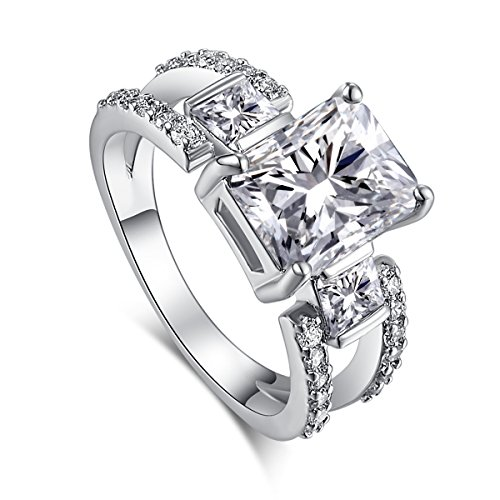 Psiroy 925 Sterling Silver Created White Topaz Filled Split Shank Band 3 Stone Engagement Ring