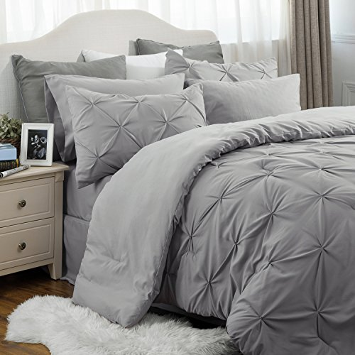 Bedsure 8 Piece Comforter Set 100 % Queen Size 88X88 decent Grey Pinch Pleat along replacement Bed in A pouch Comforter2 Pillowshams Flat bed sheet Fitted bed sheet Bed Skirt2 Pillowcases