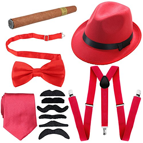 1920s Mens Accessories Hard Felt Wide Brim Panama Hat, Y-Back Elastic Suspenders & Pre Tied Bow Tie, Gangster Tie,Toy Cigar & Fake Mustache (OneSize, Red)