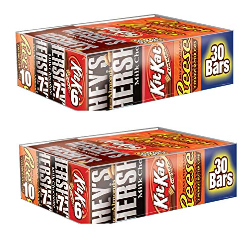HERSHEY'S Chocolate Candy bar Assorted Variety Pack Milk Chocolate, Milk Chocolate Almond, KIT KAT, Reese'S Cups, Full Size, 30Count