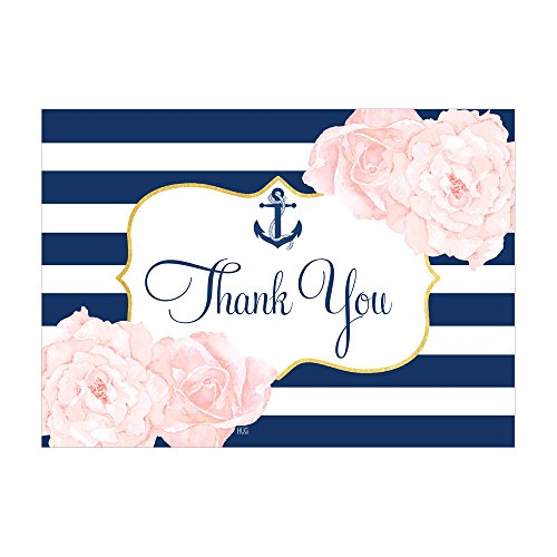 Baby Girl Return Address Labels - Set of 12 Thank You Notes and Envelopes with Navy Anchor Nautical Coastal and Blush Pink Flowers CTY010
