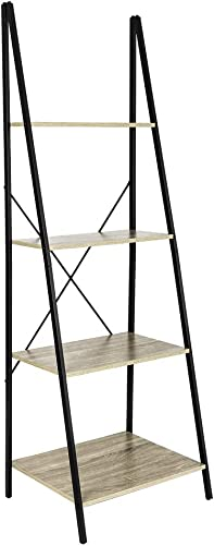 C-Hopetree Ladder Shelf Bookcase – Bookshelf – 4 Tier Plant Stand – Black Metal Frame