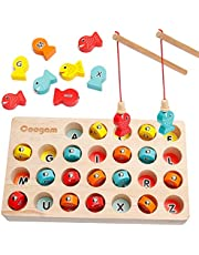 Coogam Wooden Magnetic Fishing Game, Fine Motor Skill Toy ABC Alphabet Color Sorting Puzzle, Montessori Letters Cognition Preschool Gift for 2 3 4 Years Old Toddler Kid Early Learning with 2 Pole