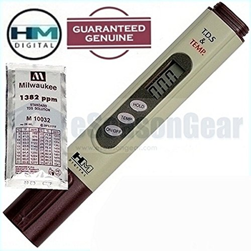 HM Digital TDS-4TM + 1382 ppm Solution, TDS Meter/Tester/Water Quality Purity