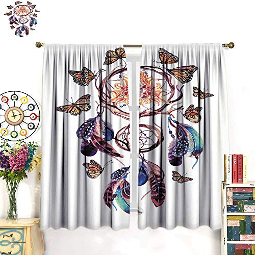 (Warm Family Bedroom Curtains Watercolor Ethnic Dream Catcher with All Seeing Eye in Pyramid Drapes Panels W84 x L72)