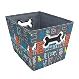 Paw Prints Fabric Pet Toy Bin, Wordplay Design, 14.75 x 10 x 10.75 Inches (37409)
