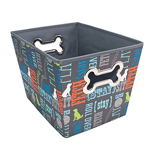(Paw Prints Fabric Pet Toy Bin, Wordplay Design, 14.75 x 10 x 10.75 Inches (37409))