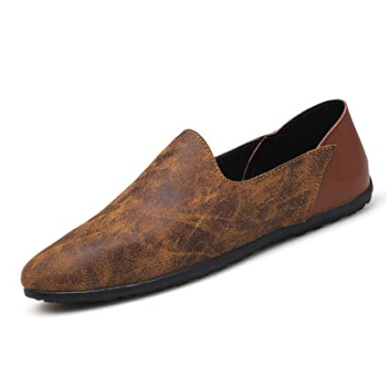 6e7162fdd961 Amazon.com  YaXuan Men s Shoes Leather Spring Fall   Winter Comfort Loafers    Slip-ONS Pointed-Toe Driving   Lazy Shoes  Garden   Outdoor