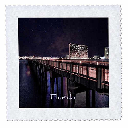 3dRose Florida - Image of Panama City Pier At Night - 8x8 inch quilt square - City Panama Pier