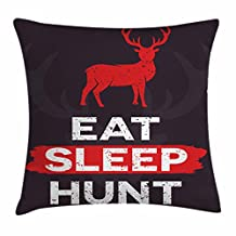 Hunting Decor Throw Pillow Cushion Cover by Ambesonne, Eat Sleep Hunt Inspirational Quote Grunge Deer Silhouette Antlers, Decorative Square Accent Pillow Case, 16 X 16 Inches, Scarlet White Grey