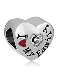 Charmed Craft I Love Family Charms Together Forever Happy Heart Bead For Charm Bracelets