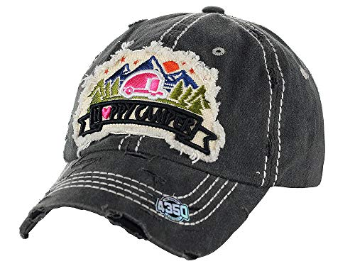 - NYFASHION101 Women's Distressed Unconstructed Embroidered Baseball Cap Dad Hat, Happy Camper, Black
