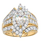 18k Gold over .925 Silver White Marquise Cubic Zirconia Triple Row Cocktail Ring Size 9