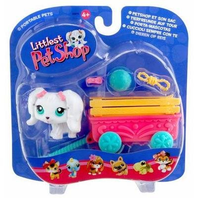 Littlest Pet Shop Pets On The Go Figure White Puppy Dog with Cute Wagon Hasbro Toys