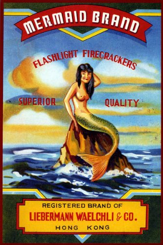 Vintage Mermaid Poster Mermaid Brand Firecrackers Reproduction
