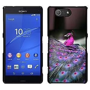 Las plumas del pavo real Pájaro púrpura vibrante- Metal de aluminio y de plástico duro Caja del teléfono - Negro - Sony Xperia Z4v / Sony Xperia Z4 / E6508
