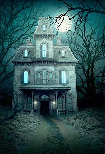 AOFOTO 6x9ft Spooky Haunted House Backdrop Moon Night