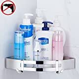 #10: Gricol Bathroom Corner Shower Shelf Wall Shower Caddy Stainless Steel Self Adhesive No Damage Wall Mount (silver)