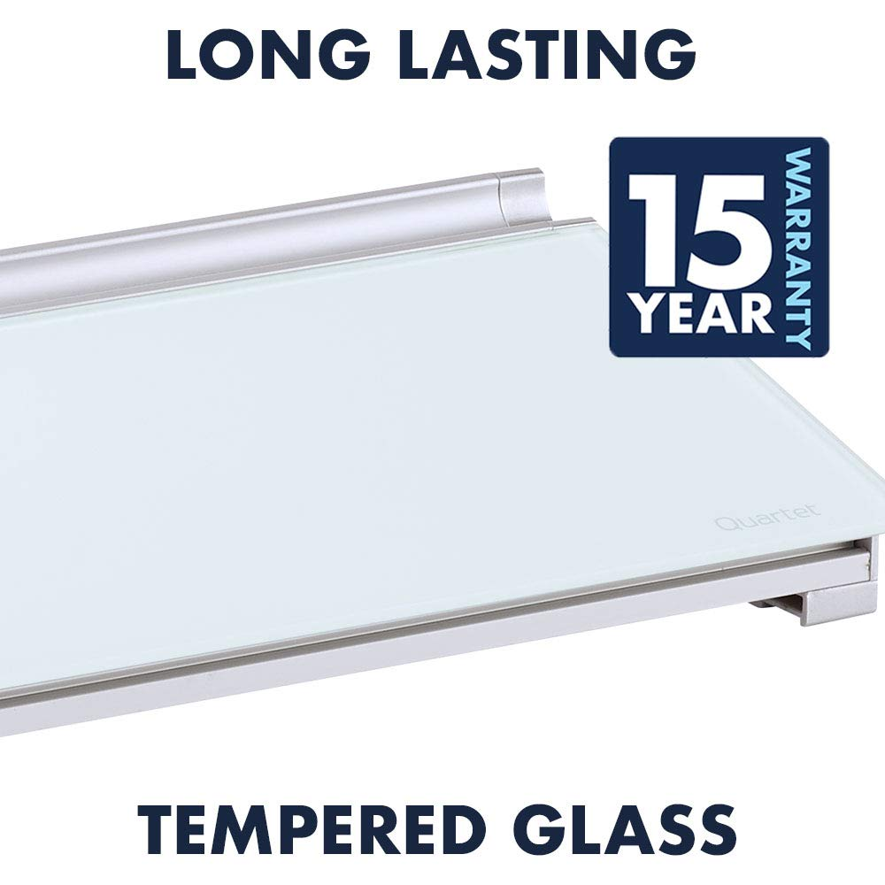 GDP186 18 x 6 White Dry Erase Surface Quartet Glass Whiteboard Desktop Computer Pad with Storage Drawer