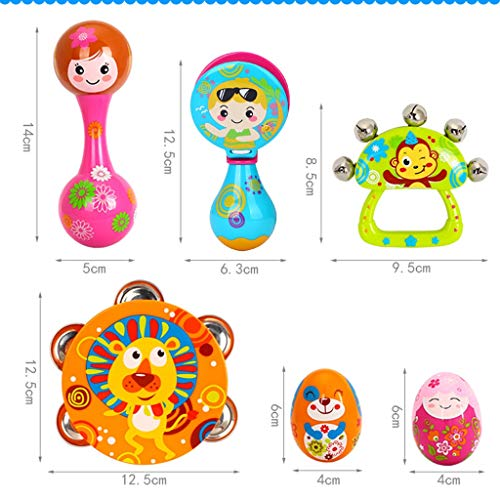 LIPENG-TOY Children's Educational Tambourine Infant Hand Drums Percussion Instrument 3-6-12 Months Set (Color : Multi-Colored) by LIPENG-TOY (Image #1)