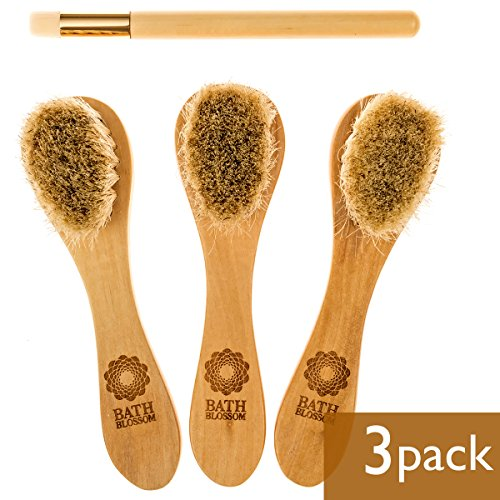 Bath Blossom Face Cleansing Brush for Facial Exfoliation - Skin Cleaning Scrub Scrubber Brush - Natural Bristles Exfoliating Face Brushes for Dry Brushing and Scrubbing - Suitable for Men and Women