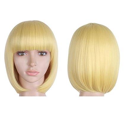 BigLion Peluca de pelo Corto para Mujeres Bob Pelucas con Flequillo Recta Sintética Cosplay de Cabello