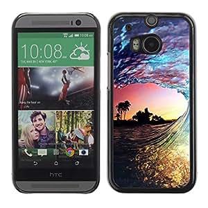 FECELL CITY // Duro Aluminio Pegatina PC Caso decorativo Funda Carcasa de Protección para HTC One M8 // Miami Wave Sunset Colorful Summer