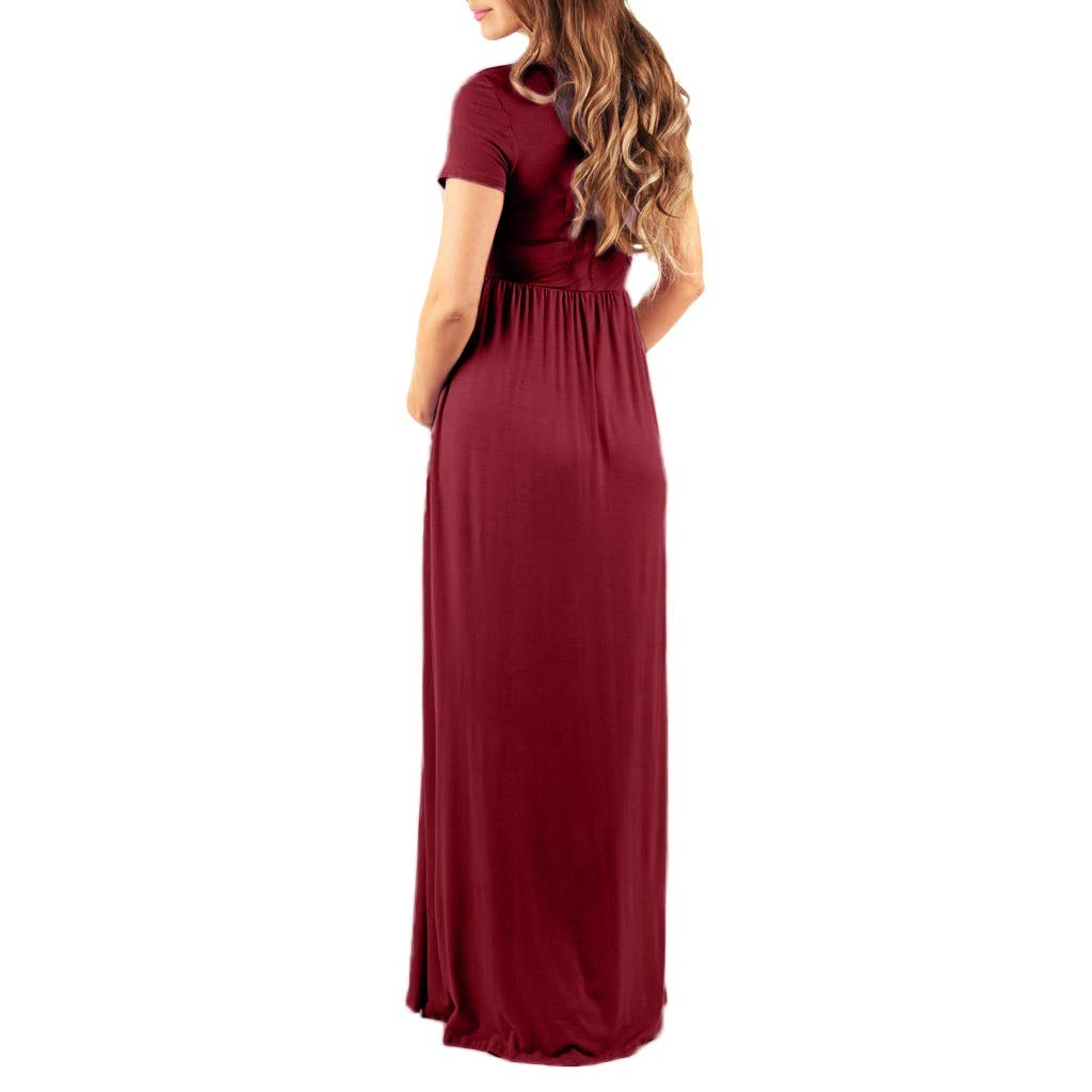 Maxi Maternity Long Dress for Women Ladies Summer Casual Short Sleeve Ruched Sundress Pregnancy Clothing Mumustar