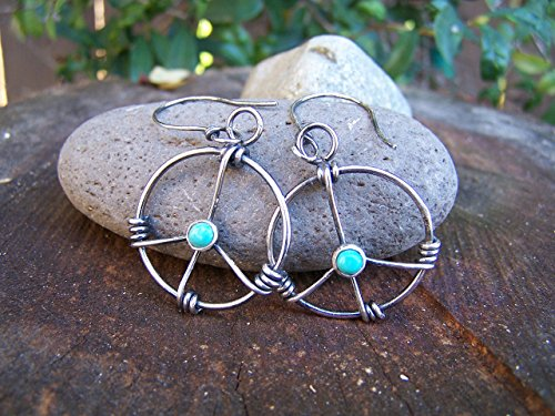 Hand wrapped sterling silver and turquoise peace sign earrings -