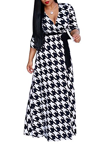 (Hestenve Womens V Neck 3/4 Sleeve Floral Printed Dress High Waist Maxi Wrap Dresses)