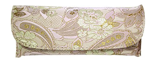 Asian Silk Brocade Style Semi-Hard Eyeglass Case Front Closure Pink Champagne