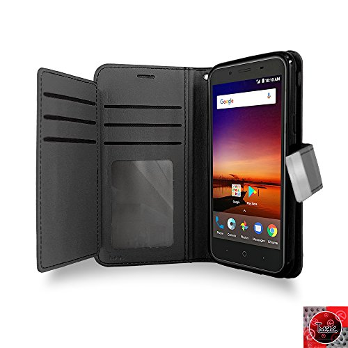 ZTE Avid 4 Case, ZTE Avid 4 Wallet Case, By [T MAN ] Leather [Double] Wallet Card Slots Cover Case For Metro Pcs ZTE Avid 4 Z855 (Black) (Metro Zte Phone Cases)
