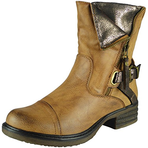 Neu Damen Armee Knöchel Reißverschluss Schnalle Winter Kampf Stiefel Größe 36-41 Kamel