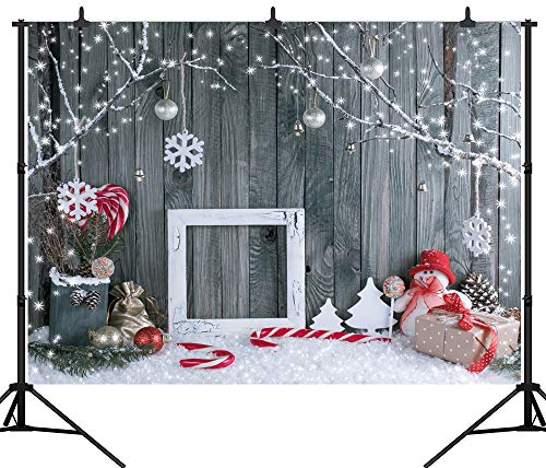 DePhoto 9X6FT(270X180CM) Christmas Theme Grey Wooden Wall Snowman