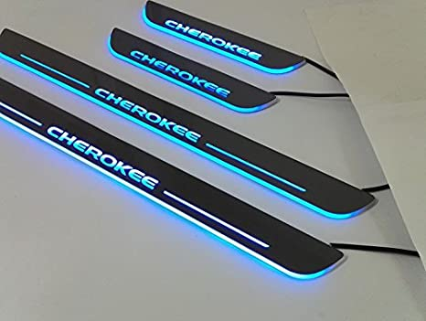 Highitem 4PCS LED Light Scuff Plate Door Sill Entry Guard Acrylic for Jeep Cherokee 2014Up