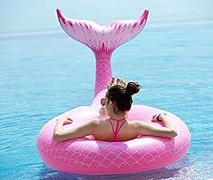 Jasonwell Cola de Sirena Hinchable colchonetas Tubo de Piscina Flotador Gigante de 120cm Veraniego Inflable Juguete para Fiestas Piscina Verano Nadar Piscina Océano Lago para Niños Adultos Niñas: Amazon.es: Juguetes y juegos