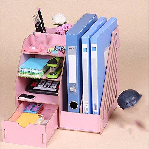 - Desktop A4 File Basket Data Storage Rack Wooden File Rack with Drawer/Pen Holder Organizer Office Organizer, 27.5×26×30cm,Pink