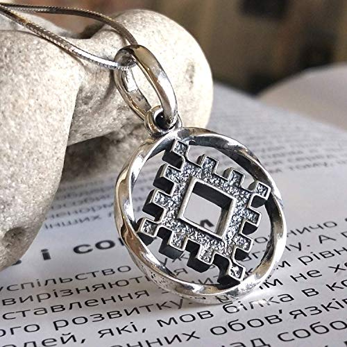 Ancient Magic Amulet Lucky Burdock 925 Sterling Silver Pendant Necklace Good Luck Talisman for Men Women Slavic Occult Symbol Viking Nordic Pagan Jewelry + Free Cord/Handmade