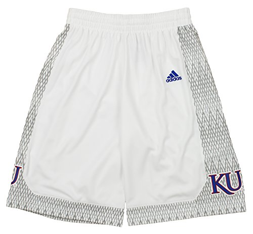 (adidas NCAA Men's Kansas Jayhawks Bball Shorts, White Large)