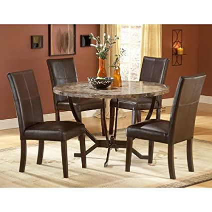 Amazon.com - Hillsdale Monaco Round Faux Marble 5-Piece Dining Set ...