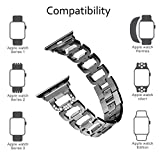 Aokon Compatible Apple Watch Band 38mm 42mm for Women, Bling Bands Stainless Steel Metal Replacement Wristband Sport Strap for Apple Watch Nike+, Series 3, Series 2, Series 1, Sport, Edition, 4 Color
