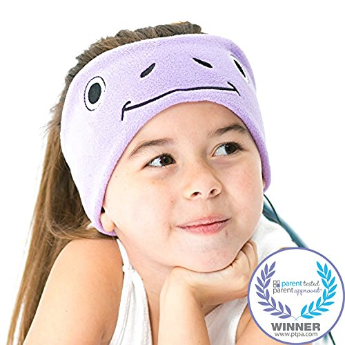 CozyPhones Kids Headphones Volume Limited with Ultra-Thin Speakers Soft Fleece Headband - Perfect Children's Earphones for Home and Travel - Purple Froggy