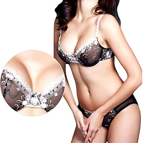 2be94a9a47e Vogue s Secret Sexy Sheer Lace See Through Unlined Plus Size Bra Underwear  Set Bralette for Women