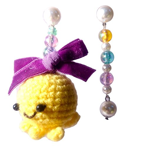 Sansukjai Earring Octopus Figurines Amigurumi Crochet Fashion Earring, Handmade Jewelry, Christmas (Fairy Magical Friend Mini Plush)