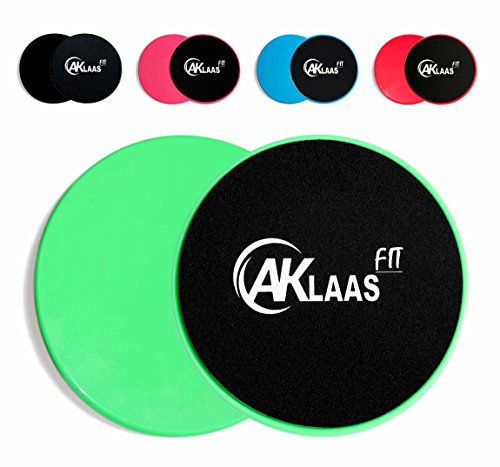 AKLAAS Core Sliders Exercise Gliding Discs x2 | Dual Sided for use on Carpet, Hardwood or Virtually Any Surface. Workout Sliders - Perfect Abdominal Exercise Equipment for All Body Workout [Green]