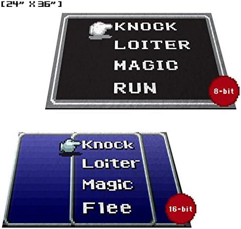 Retro RPG Menu Doormat Welcome Floormat 24 x36 , 16-bit Blue