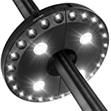 LATME Patio Umbrella Light Cordless 28 LED Night Lights 3 Lighting Mode At 220 lux Battery Operated Umbrella Pole Light for Patio Umbrellas, Outdoor Use, or Camping Tents (Black)