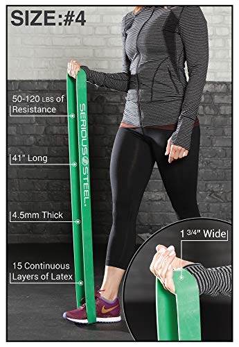 Serious Steel Fitness Green - #4 Average Pull-Up Assist & Stretching Resistance Band (Size: 1.75'' W, Resistance: 50-120lbs.) Pull-Up and Starter Band e-Guide Included by Serious Steel Fitness (Image #2)