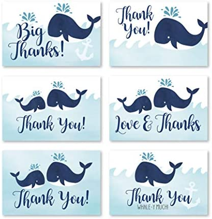 24 Blue Whale Baby Shower Thank You Cards With Envelopes, Kids Thank-You Note, 4×6 Gratitude Card Gift For Guest Pack For Party, Birthday, Boy or Girl Children, Cute Beach Nautical Event Stationery