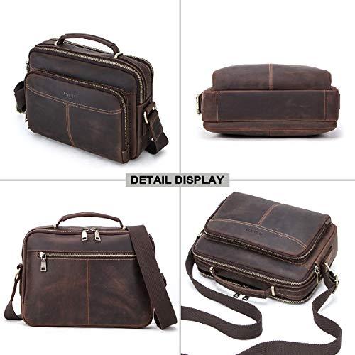 Kontakter äkta läder män 9,7 tum iPad Tab Crossbody Messenger tygväska handväska kaffe